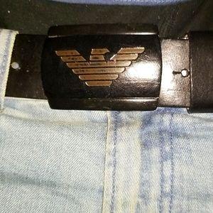 Armani Jeans Black Leather Logos Belt Buckle 32 36
